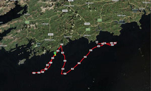 Track of IWDG cruise showing sightings 05/12/12 © Robert Newton, IWDG