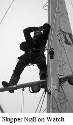 Skipper Niall up Mast © Deirdre Slevin